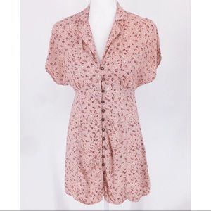 Wild Fable Pink Floral Button Front Dress
